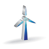 Windmill 3d Glossy Vector Icon Design