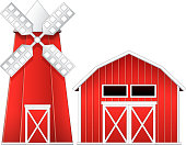 Windmill and barn illustration