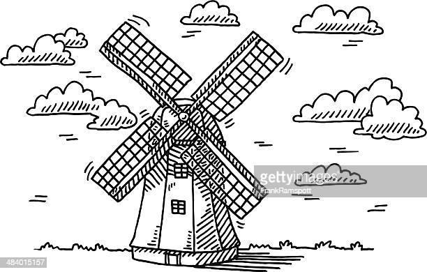 風車ビルビュークラウドの描出 - 風車塔点のイラスト素材/クリップアート素材/マンガ素材/アイコン素材