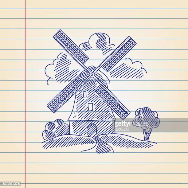 ilustraciones, imágenes clip art, dibujos animados e iconos de stock de molino de viento de dibujo forrado de papel - molino de viento