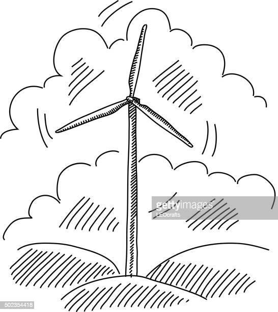 windmill drawing - american style windmill stock illustrations
