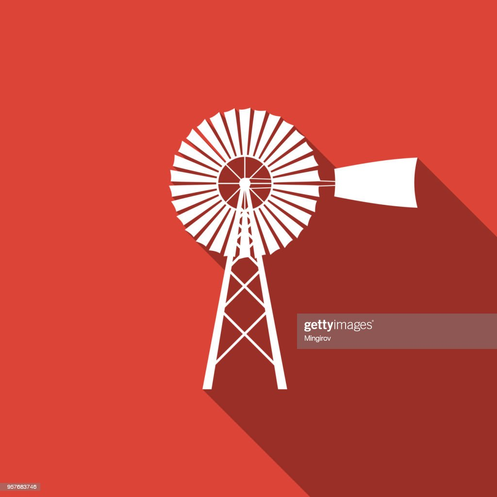 Windmill icon isolated with long shadow. Flat design. Vector Illustration