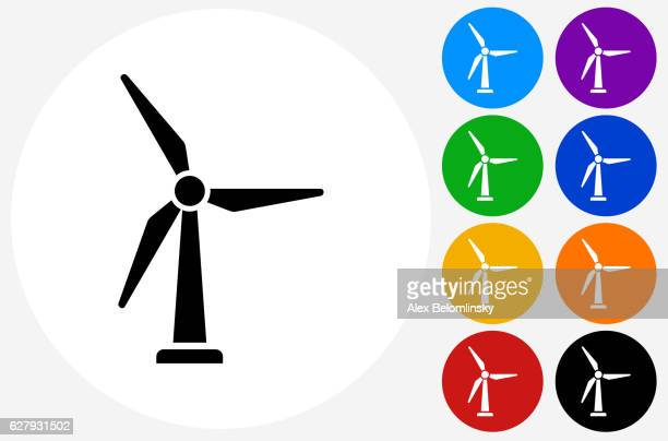 windmill icon on flat color circle buttons - turbine stock illustrations, clip art, cartoons, & icons