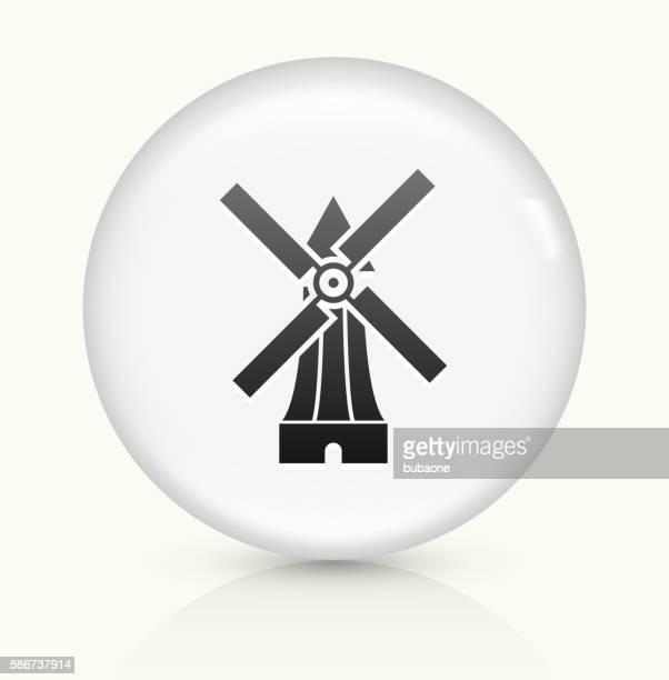 ilustraciones, imágenes clip art, dibujos animados e iconos de stock de molino de viento icono sobre blanco, vector de redondo botón - molino de viento