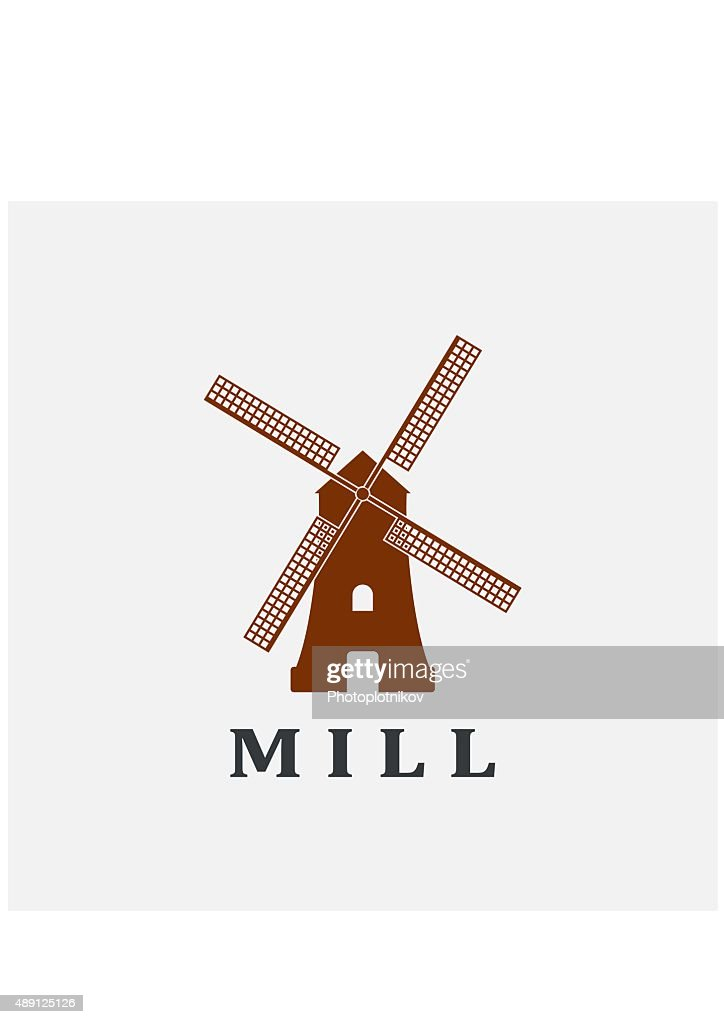Windmill icon or sign isolated on grey background.