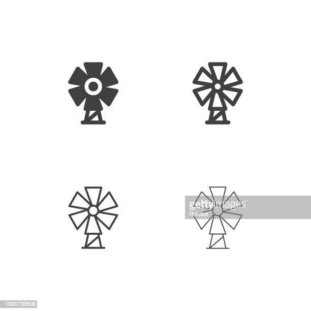 風車アイコン - マルチ シリーズ - 風車塔点のイラスト素材/クリップアート素材/マンガ素材/アイコン素材