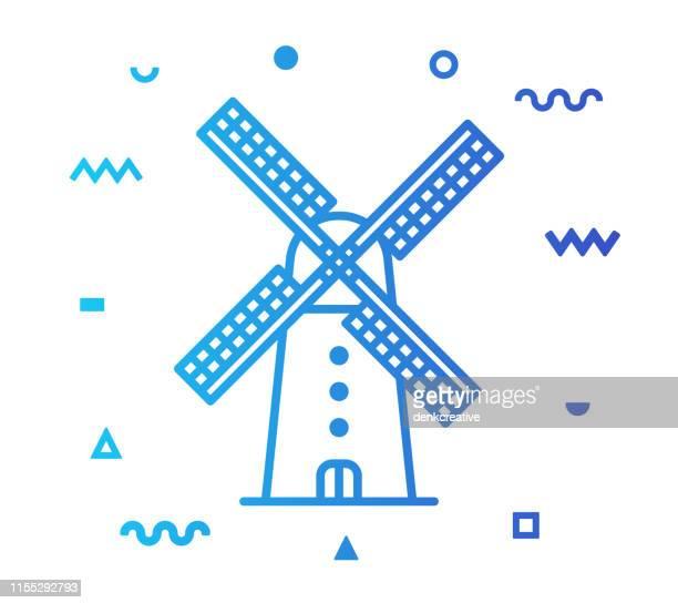 風車ラインスタイルアイコンデザイン - 風車塔点のイラスト素材/クリップアート素材/マンガ素材/アイコン素材