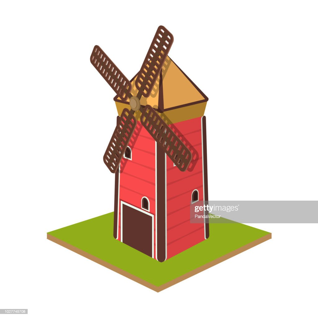 Windmill, single icon in cartoon style.Windmill vector symbol stock illustration web.