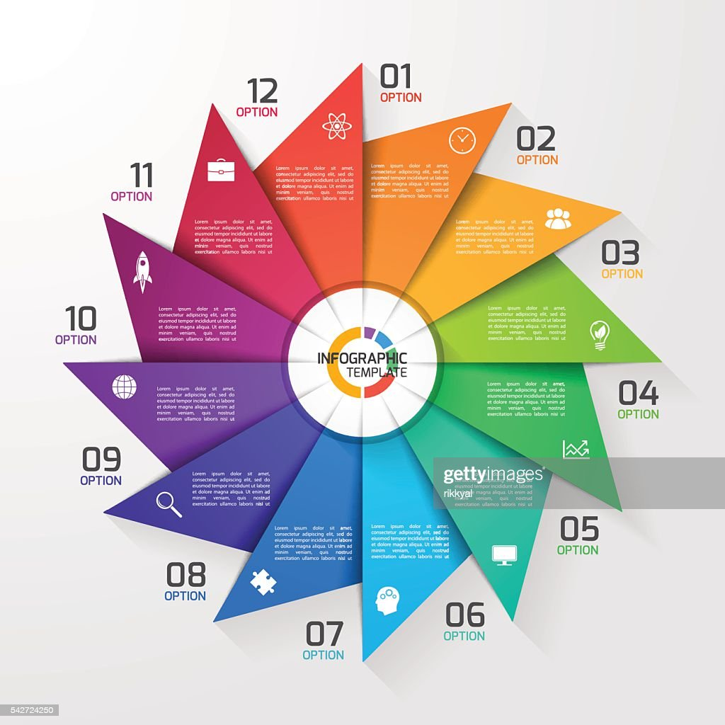 Windmill style circle infographic template for graphs, charts