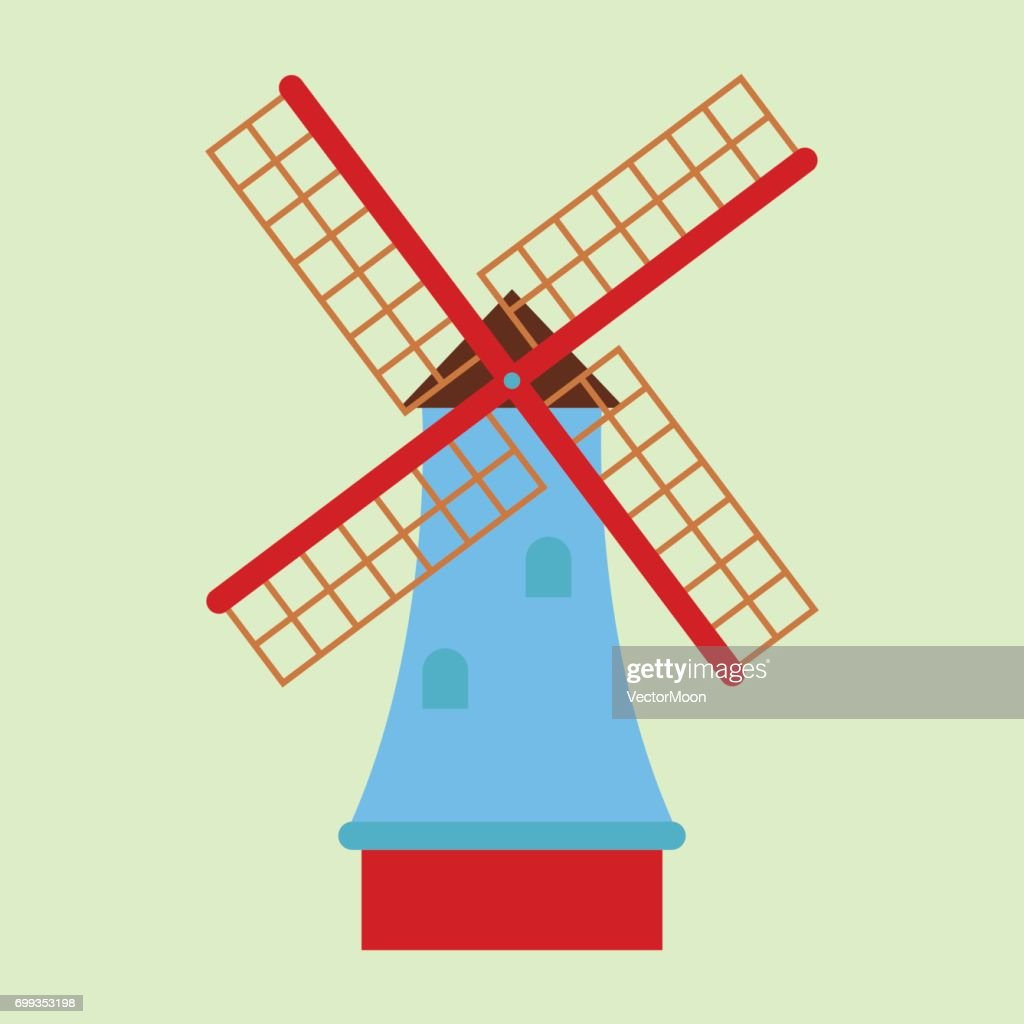 Windmill tourism travel design famous building and euro adventure international vector illustration