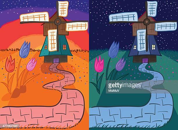 Molino de viento & tulipanes al amanecer & la noche