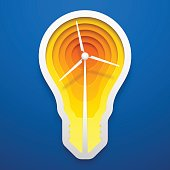 Windmill within lightbulb shape. Paper art for the Earth Day decoration. Vector illustration of alternative energy idea. Concept design.