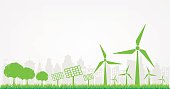 Windmills and Solar cells for generating electricity power for green city