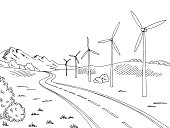Windmills road graphic black white landscape sketch illustration vector