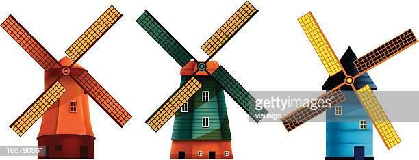 windmühlen - niederlande stock-grafiken, -clipart, -cartoons und -symbole