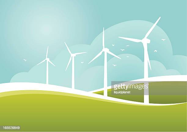 Windmills working on field illustration