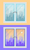 Window and city view. morning and evening, versions. Flat style vector illustration