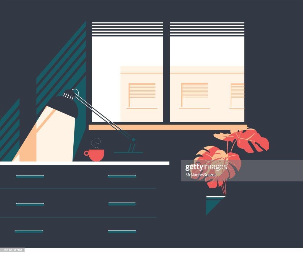 Window and interior apartment