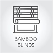 Window bamboo blinds icon in line style. Contour emblem for different design needs. House or office decor concept. Vector