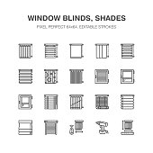 Window blinds, shades line icons. Various room darkening decoration, roller shutters, roman curtains, horizontal and vertical jalousie. Interior design signs for house decor shop. Pixel perfect 64x64