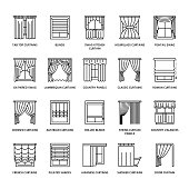 Window curtains, shades line icons. Various room darkening decoration, lambrequin, swag, french curtain, blinds and rolled panels. Interior design thin linear signs for house decor shop