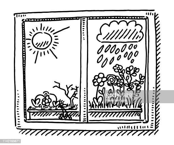 window dry humid weather comparison drawing - humidity stock illustrations, clip art, cartoons, & icons