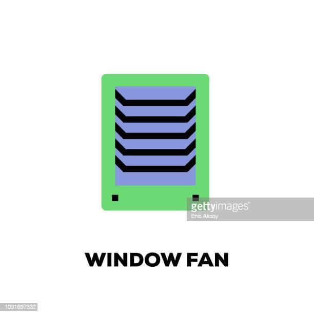 window fan line icon - medical ventilator stock illustrations, clip art, cartoons, & icons