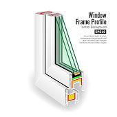 Window Frame Structure. Three Transparent Glass. Vector Illustration