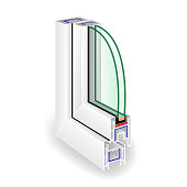 Window Frame Structure. Two Transparent Glass. Vector