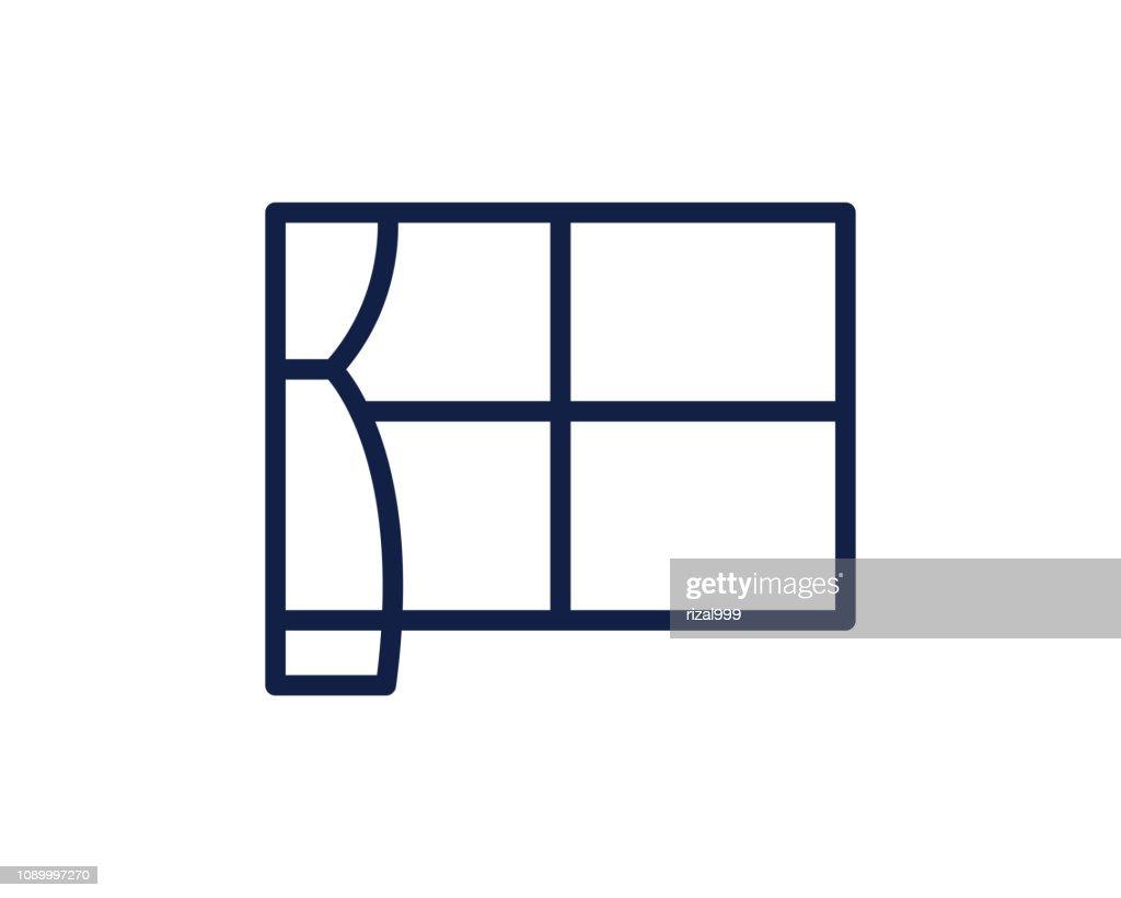 window line icon illustration vector,curtain line icon illustration design