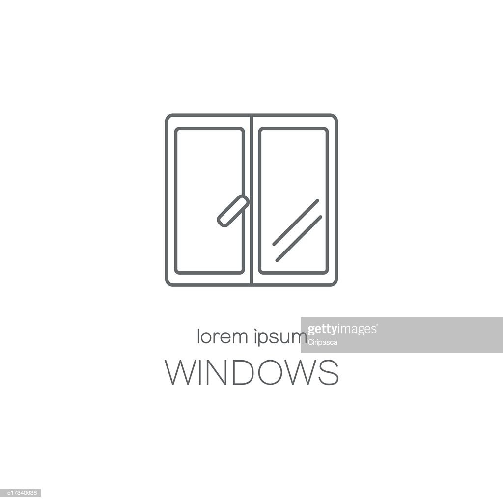 Window line icon logotype design templates.