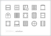 Window line icons of various architectural shapes and types of house and business building windows