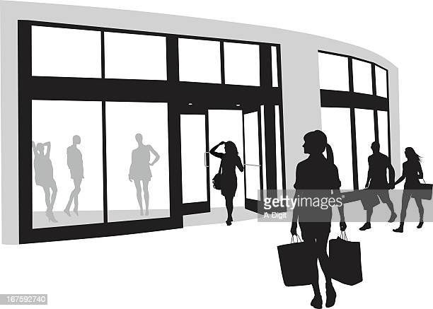 window shops vector silhouette - retail display stock illustrations