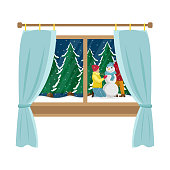Window with the view of the family making snowman. Christmas window. Flat cartoon illustration.