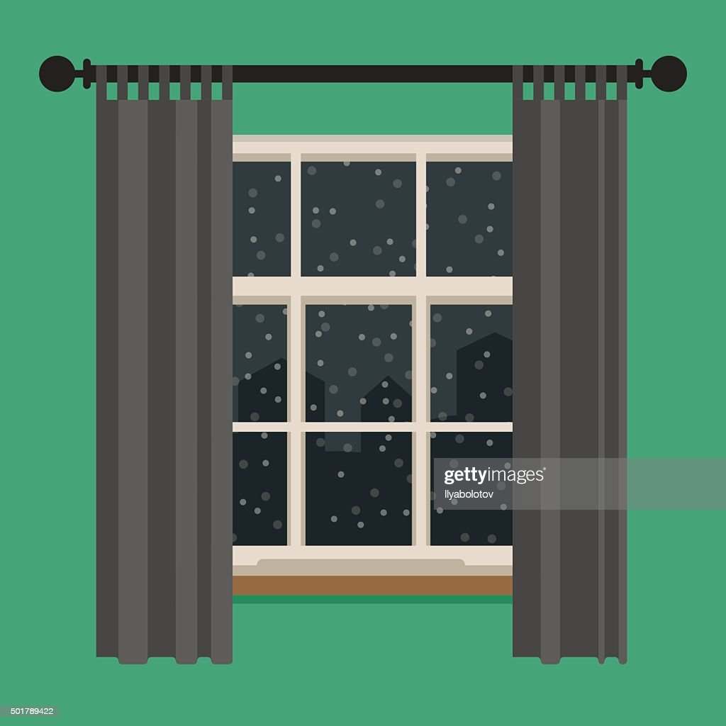 Window with view of the winter landscape.
