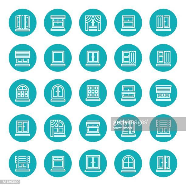 windows and curtains icons - close to stock illustrations
