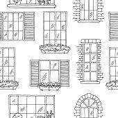 Windows graphic black white seamless pattern sketch illustration vector