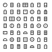 Windows icon collection. Set of line window contours isolated on white background.