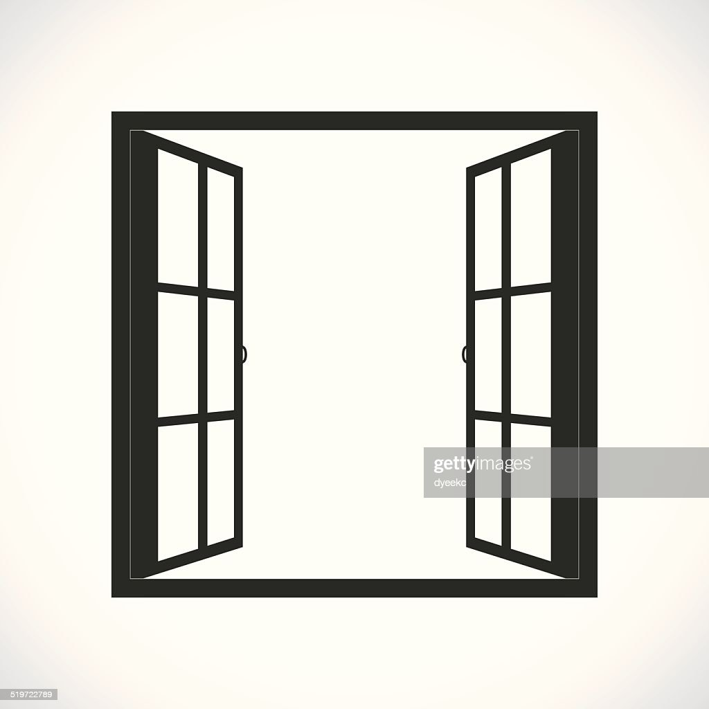 Windows-half open window vector