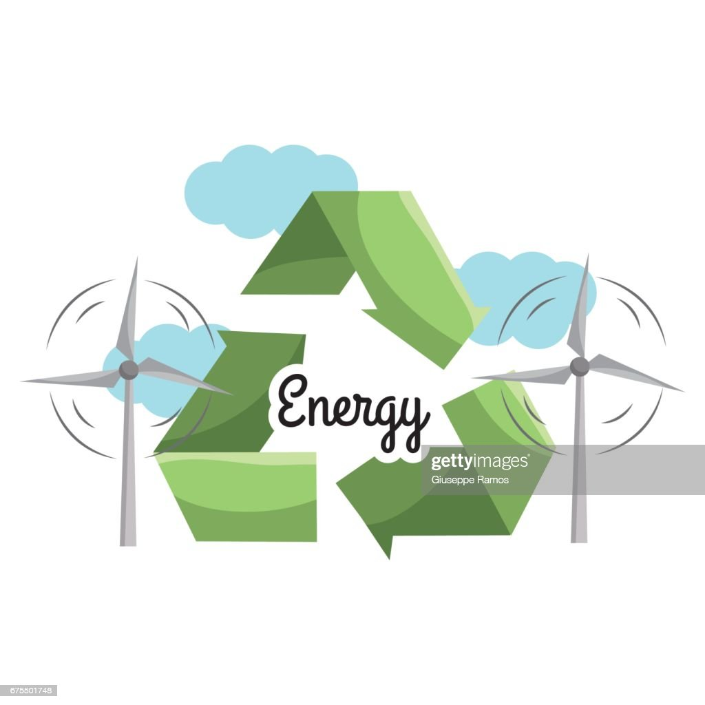 Windpower With Reduce Reuse And Recycle Symbol Vector Art Getty Images