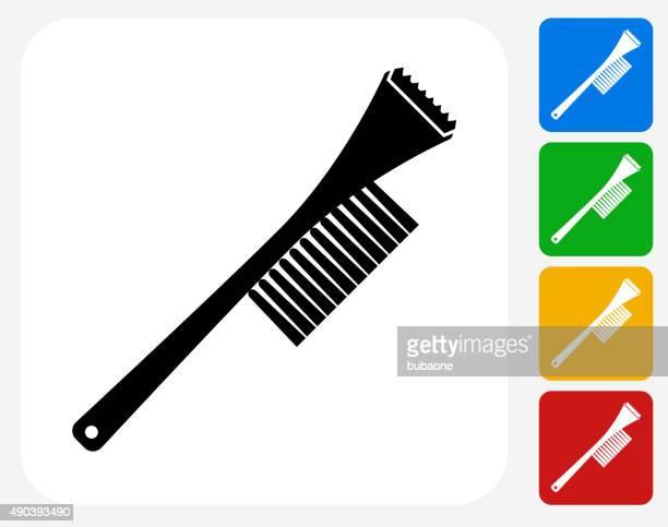 windshield snow removal icon flat graphic design - winterdienst stock illustrations