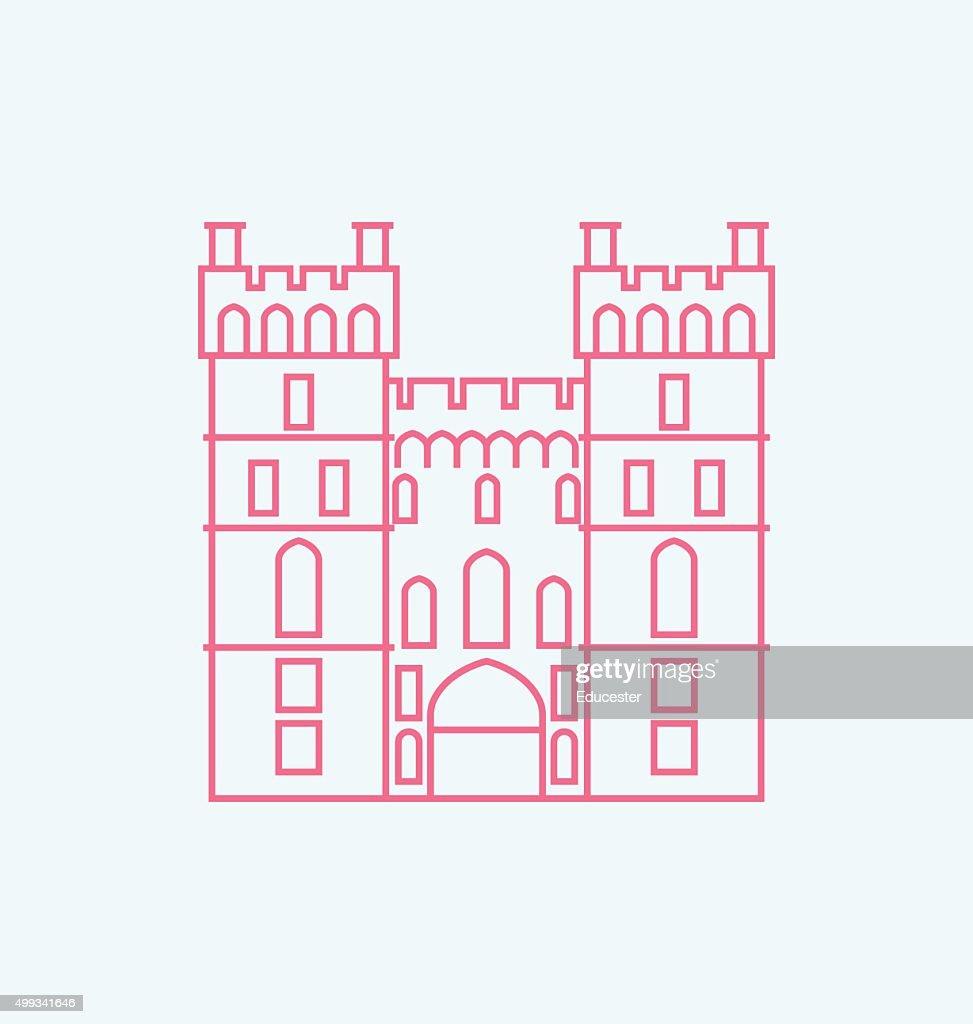 Windsor Castle colored line Illustration