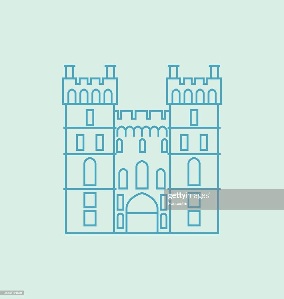 Windsor Castle Solid Vector Illustration