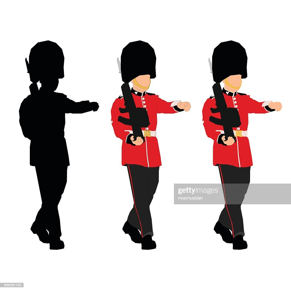 Windsor Guard in uniform. Drawing and Silhouette.