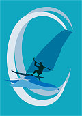 windsurfer on a wave with a blue background