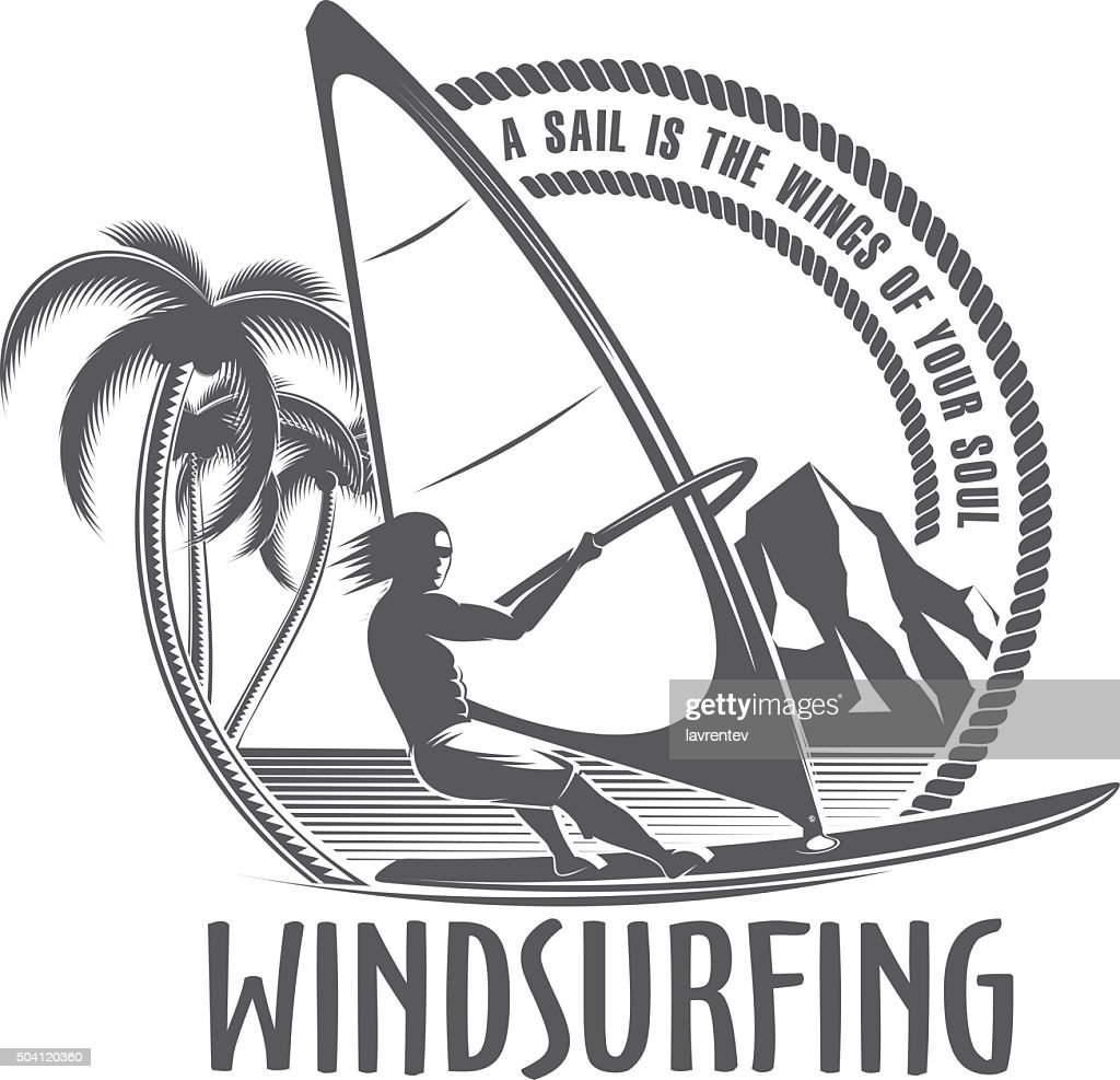 windsurfing emblem on a white background