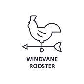 windvane rooster line icon, outline sign, linear symbol, vector, flat illustration
