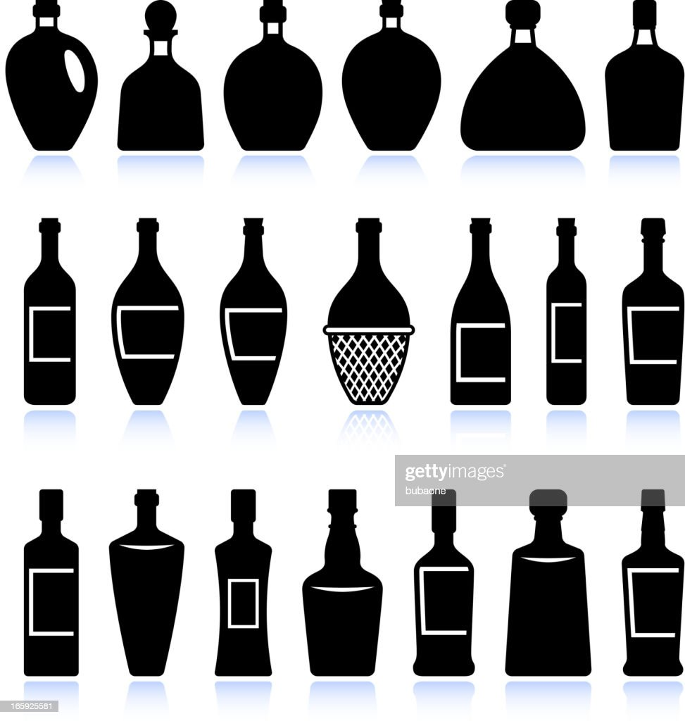 Wine and alcohol bottles black & white vector icon set