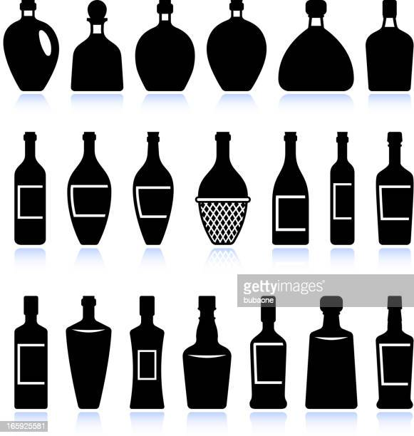 wine and alcohol bottles black & white vector icon set - tequila drink stock illustrations, clip art, cartoons, & icons