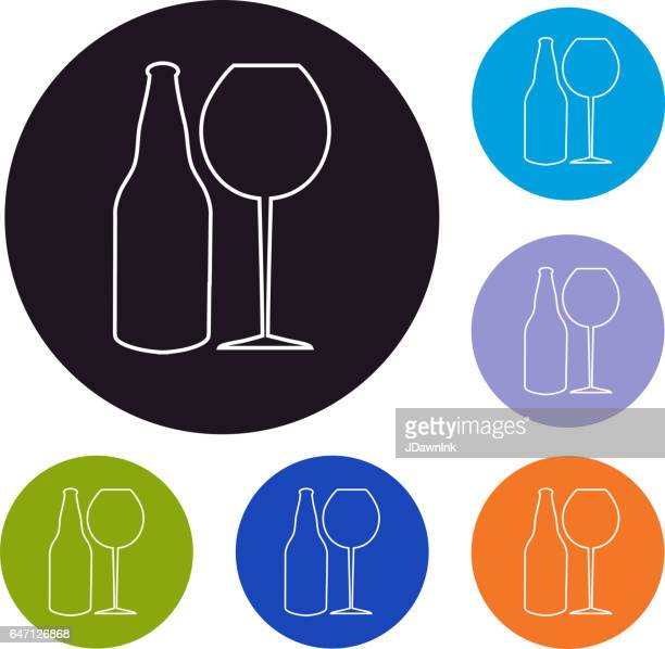 Wine and beer glass set of icons